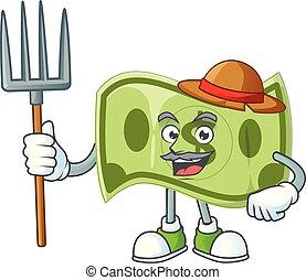 caractère, paysan, argent, dessin animé, mascotte, papier