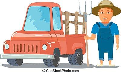 caractère, pick-up, vecteur, paysan, truck., dessin animé, rouges