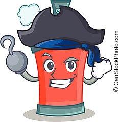 caractère, pirate, pulvérisation, boîte aérosol, dessin animé