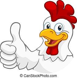 caractère, poulet, coq, coquelet, dessin animé