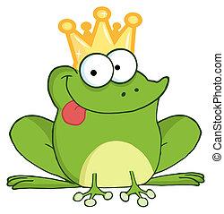 caractère, prince, grenouille, dessin animé