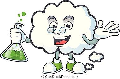 caractère, prof, bulle, style, dessin animé, nuage