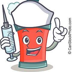 caractère, pulvérisation, boîte aérosol, infirmière, dessin animé
