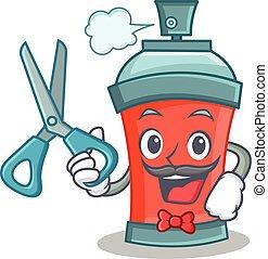 caractère, pulvérisation, coiffeur, conservez aérosol, dessin animé
