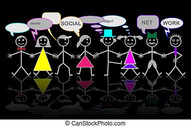 caractère, réseau, vecteur, -, social