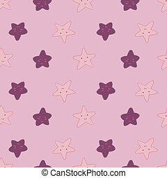 caractère, rose, arrière-plan., modèle, étoile, formes, éléments, étoiles, géométrique, sourire, wallpaper., seamless