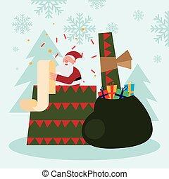 caractère, sac, noël, santa, cadeau, claus, dons