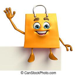 caractère, sac, signe, achats
