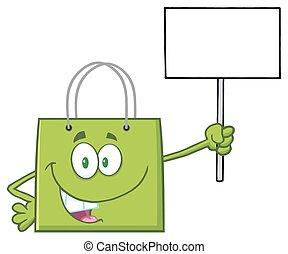 caractère, sac, vert, achats