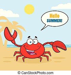 caractère, salutation, onduler, crabe, mascotte, dessin animé, heureux