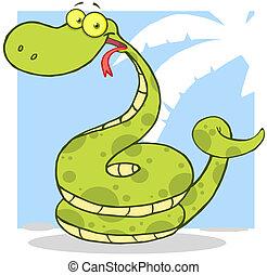 caractère, serpent, dessin animé