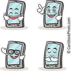 caractère, smartphone, ensemble, dessin animé