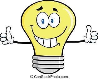 caractère, sourire, ampoule, lumière