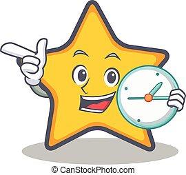 caractère, style, étoile, dessin animé, horloge