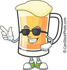 caractère, super, grande tasse, frais, bière