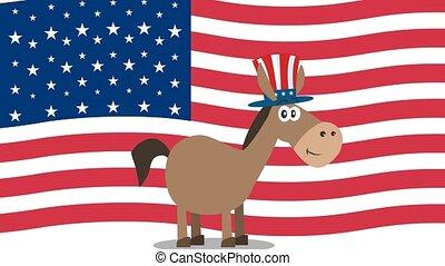 caractère, sur, démocrate, drapeau, sam, usa, oncle, dessin ...