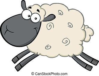 caractère, tête, noir, dessin animé, mouton