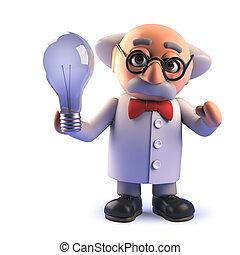 caractère, tenue, scientifique, lightbulb, dessin animé, fou, 3d