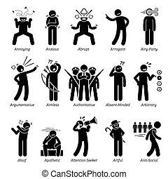 caractère, traits, négatif
