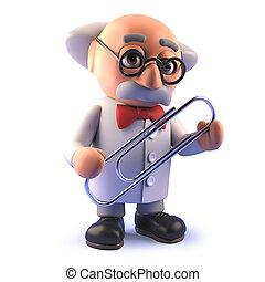 caractère, trombone, scientifique, fou, tenue, dessin animé, 3d
