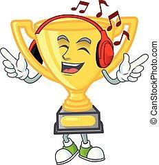 caractère, trophée or, musique, icône, écoute, mascotte