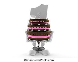 caractère, une, gâteau, nombre, tenue
