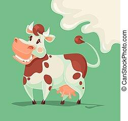 caractère, vache, heureux