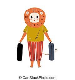 caractère, valises, lion, rigolote, mignon, dessin animé, humanized, touriste, animal, bagage, aller, vacances, debout, illustration, vecteur