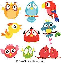 caractère, vecteur, conception, oiseaux