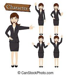 caractère, vecteur, femme affaires, ensemble, illustration