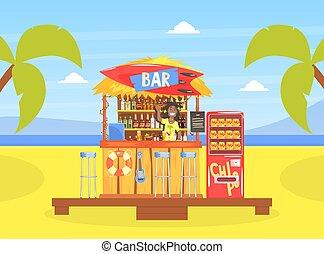 caractère, vecteur, plage tropicale, café, barman, sourire, illustration, ou, barre