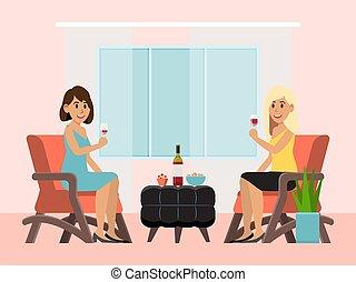 caractère, verre, boisson, séance, vecteur, alcool, amical, ...