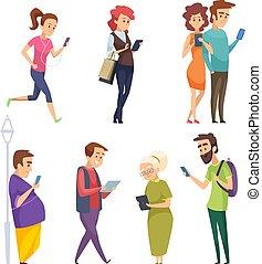 caractères, à, gadgets., femme homme, gosses, internet, bavarder, par, smartphones, tablettes, intelligent, tampon, dessin animé, vecteur, gens
