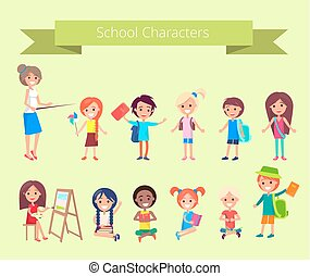 caractères, école, vecteur, élèves, collection