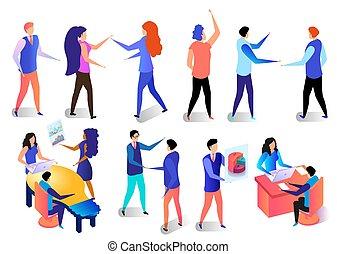 caractères, activités, set., bureau, business
