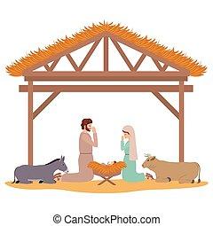 caractères, animaux, famille, saint, écurie