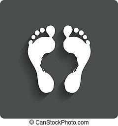 caractères, barefoot., label., pied, humain, empreinte,...
