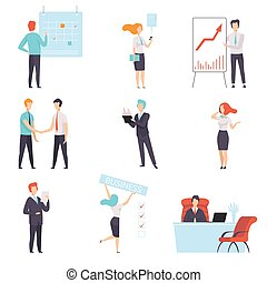 caractères, bureau, business, ensemble, travail, businesspeople, illustration, réussi, vecteur, fond, blanc