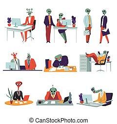 caractères, bureau fonctionnant, collègues, étrangers, ...