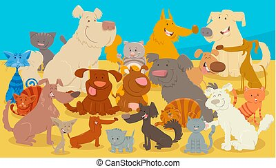 caractères, chats, dessin animé, animal, chiens
