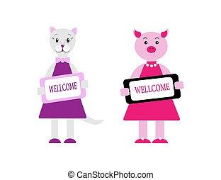 caractères, cochon, plaque., vecteur, garder, animaux, style., conjugal, wellcome, plat, illustration, mignon, dessin animé, ensemble, chat