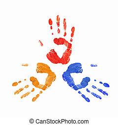 caractères, coloré, mains humaines