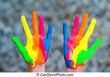caractères, coloré, peint, peintures, main, mains, prêt