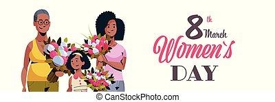 caractères, concept, mars, tenue, bouquet, américain, africaine, trois, salutation, international, célébrer, femmes, générations, femme, 8, portrait, horizontal, fleurs, jour, carte, heureux