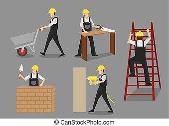 caractères, construction, vecteur, travail, ouvrier