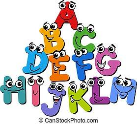 caractères, dessin animé, illustration, lettre alphabet