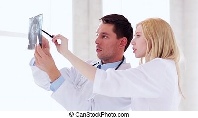 caractères, deux, rayon x, médecins