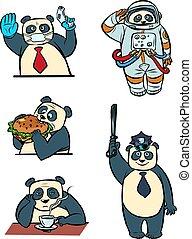 caractères, docteur, taikonaut, caractère, ensemble, animal, panda, police, collection, homme affaires, mignon, différent