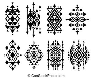 caractères, ensemble, mexicain, vendange, tribal, aztèque, traditionnel, vecteur, logo, navajo, conception