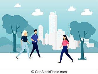 caractères, gens, avatar, scène urbaine